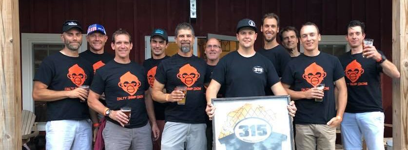 The team presents a Salty Chimps jersey to Local 315 Brewery