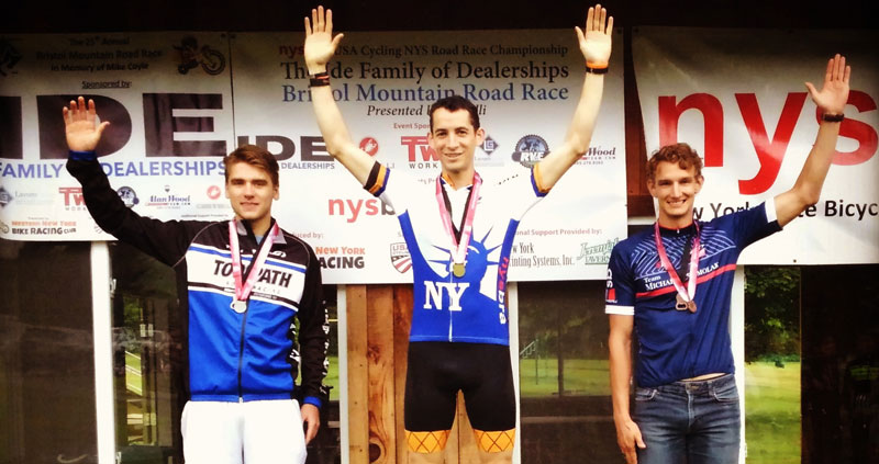 Jon in the NYS champion's jersey at the Bristol Mountain Road Race 2019