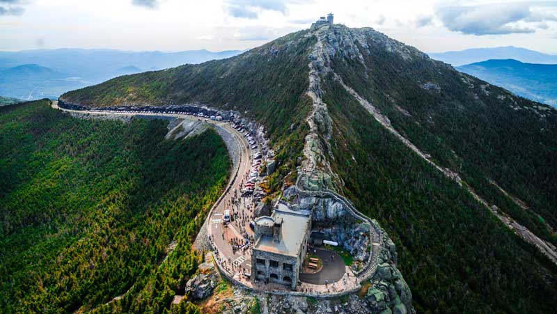 Aerial photograph of the peak of Whiteface Mountain