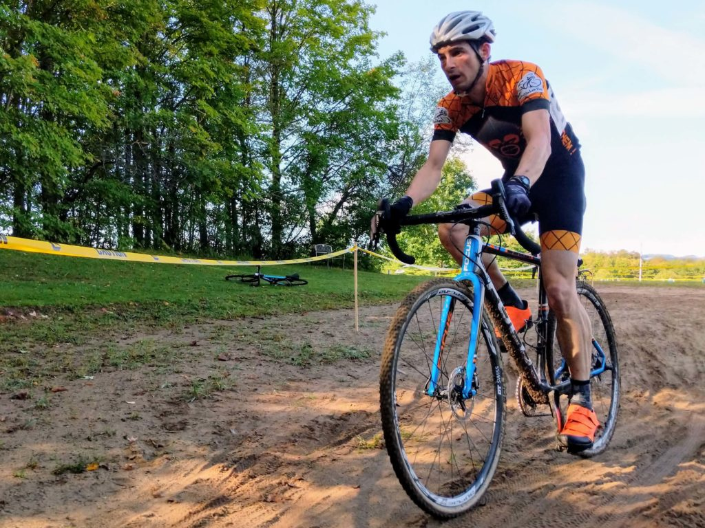Jon Cyganik powers through the sand feature at Kirkland CX