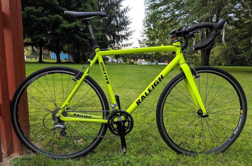 Raleigh cyclocross bike, side view