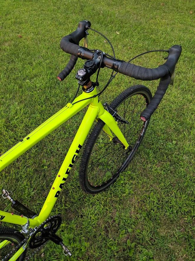 Raleigh cyclocross bike, cockpit view