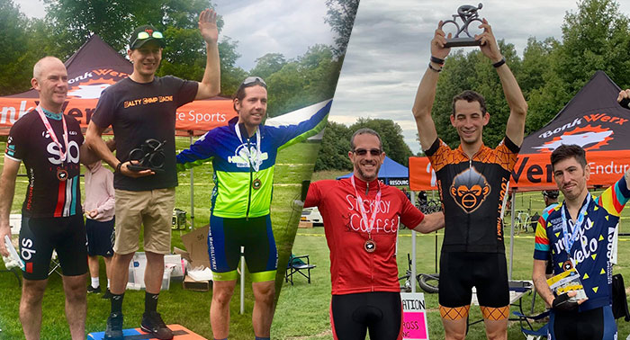 Scott and Jon on top of their podiums at the Bonkwerx CX race in 2019