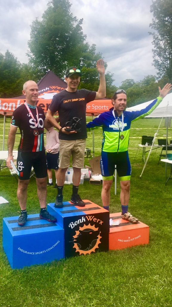 Scott Stewart on the top step of the podium at Bonkwerx Cyclocross
