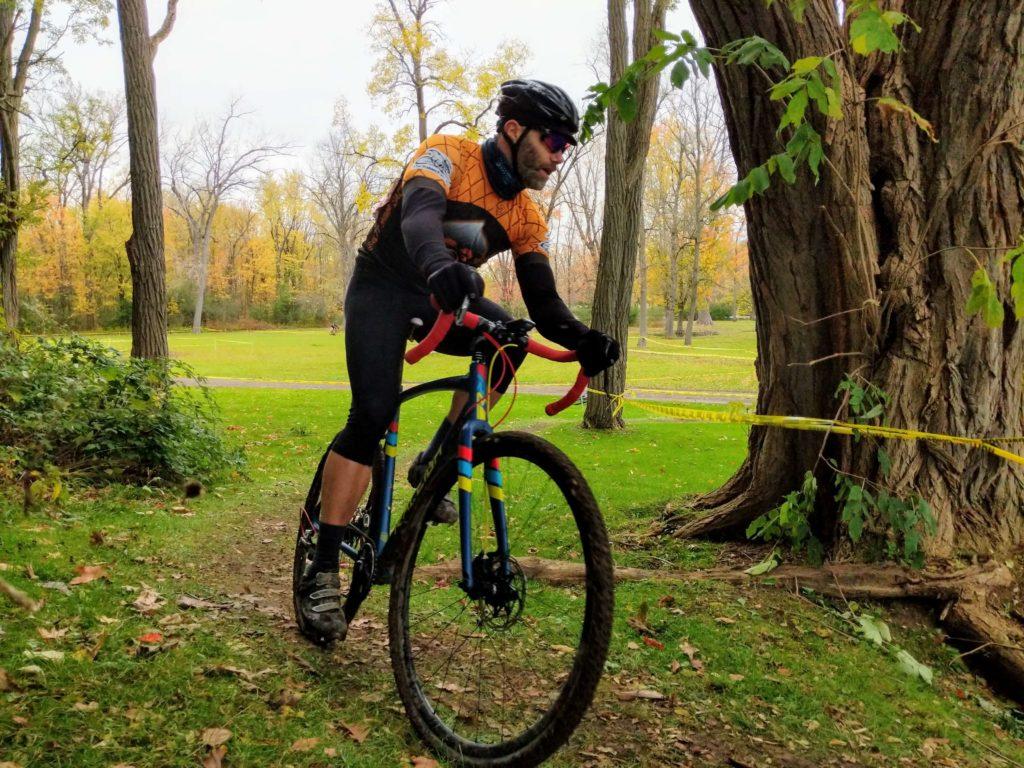 Dan Deemer mid-turn at Syracuse Cyclocross 2019