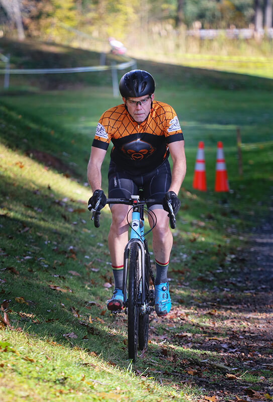 Rob Chimento riding an uncommonly straight section of the course at Syracuse Cyclocross 2019